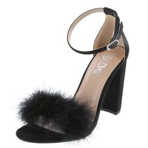 BRASH sexy fuzzy strappy sandal block heel black